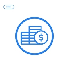 Flat bold line coins icon vector