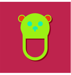 Flat icon design teddy bear bib in sticker style vector