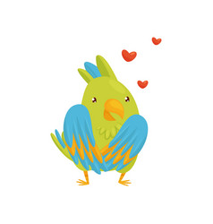flat icon of enamored parrot character red vector image
