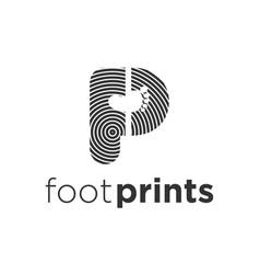 Footprint identification logo modern technology vector