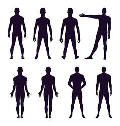 Full length front back silhouette of man vector