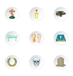 Funeral services icons set cartoon style vector