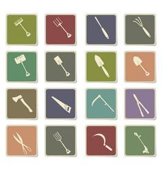 Garden tools icon set vector