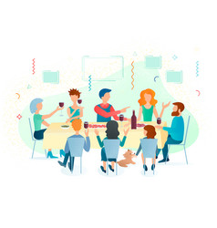 Gathering family and friends at festive table vector