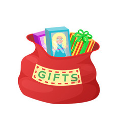 gifts red bag of santa claus vector image