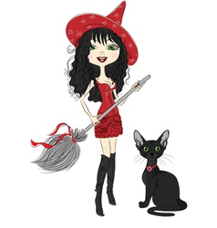 girl witch with broom and black cat vector image