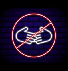 glowing neon line no handshake icon isolated vector image