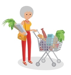 grandmother carrying bags Woman vector image