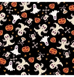 Halloween ghost seamless pattern doodle pattern vector image