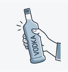 hand hold vodka bottle male hand holding a vodka vector image