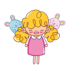 Happy girl child with mice animals vector