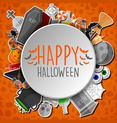happy halloween round banner orange background vector image