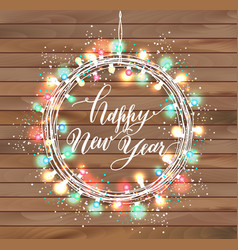 happy new year design on wooden texture vector image
