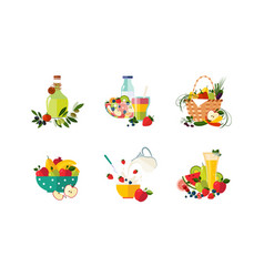 healthy dishes from organic vegetables and fruits vector image