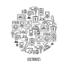 Home electronics sketch circle vector image
