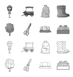 Isolated object of farm and agriculture icon set vector