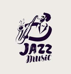 jazz logo or label live music musical festival vector image