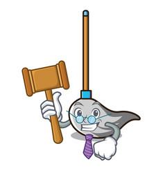Judge mop mascot cartoon style vector