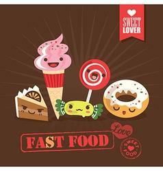 Kawaii fast food sweets candy cartoon characters vector