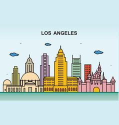 Los angeles city tour cityscape skyline colorful vector