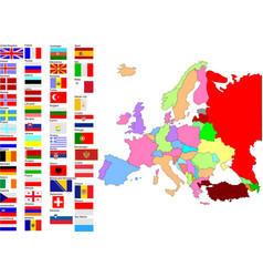 Map of europe with country flags vector