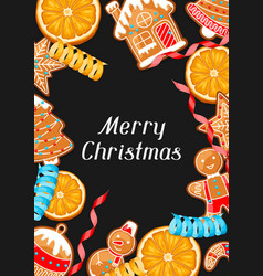 merry christmas greeting card with various vector image