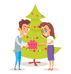 Merry christmas poster husband giving present wife vector