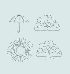 monochrome graphic with climate icons set vector image