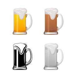 Mug with beer set vector