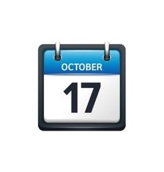 October 17 Calendar icon flat vector