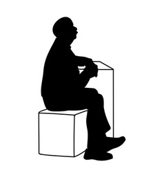 old man crossing his hands sitting on box and vector image
