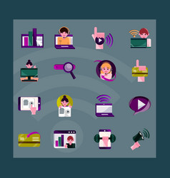 online activities digital connection vector image