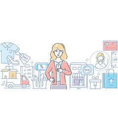 online shopping - modern line design style vector image
