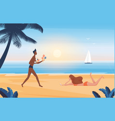 people relax on summer sea beach vacation vector image