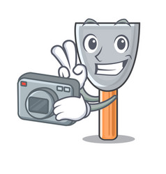 Photographer cartoon putty knife in plaster vector