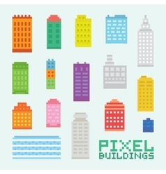 Pixel art isolated buildings set vector