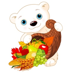 Polar Bear Holds Cornucopia vector image
