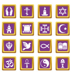 Religion icons set purple square vector