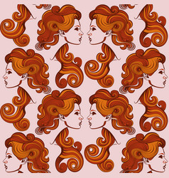 repaint seamless pattern womans profile vector image