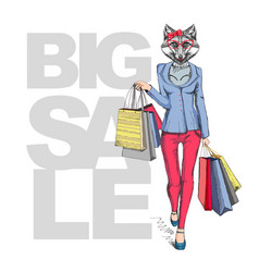 Retro hipster animal girl fox big sale hipster vector