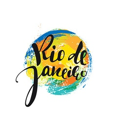 Rio de Janeiro inscription background colors of vector image