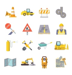 Road Worker Flat Icons Set vector