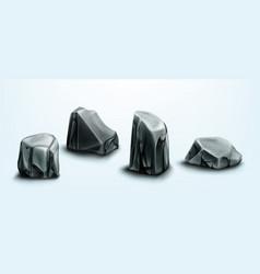 rocks parts cobbles boulders and gray stones vector image