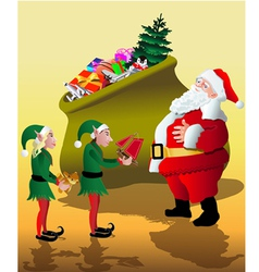 Santa with elves vector