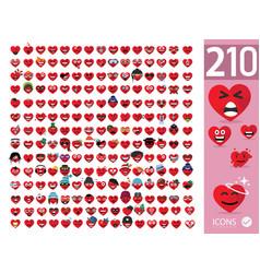 Set cute heart emoji emoticons vector