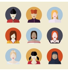 set of women avatars different nationalities in vector image