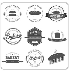 set vintage bakery labels and design elements vector image