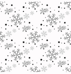 snowflake simple seamless pattern black snow on vector image