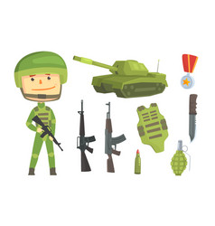 soldier and professional army weapon set vector image