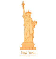 Statue of liberty cartoon with torch flat design vector